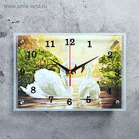 """Часы настенные прямоугольные """"Лебеди"""", 25х35 см"""