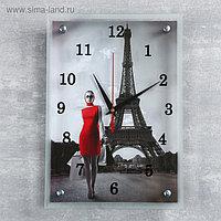 """Часы настенные, серия: Город, """"Девушка в красном платье в Париже"""", микс 25х35 см"""