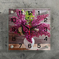 """Часы настенные, серия: Цветы, """"Сирень в белой вазе"""", 25х25 см, микс"""