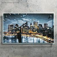 """Часы настенные, серия: Город, """"Бруклинский Мост. Ночной Нью-Йорк"""", 35х60 см, микс"""