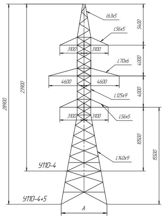 Анкерно-угловые металлические опоры ВЛ 110 кВ типа УС110, У110