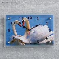 """Часы настенные, серия: Животный мир, """"Лебеди на пруду"""", 20х30 см, микс"""