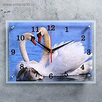 """Часы настенные, серия: Животный мир, """"Лебеди"""", 25х35 см, микс"""
