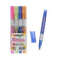 Набор маркеров 4 цвета двухцветная линия металлик 2,6 мм
