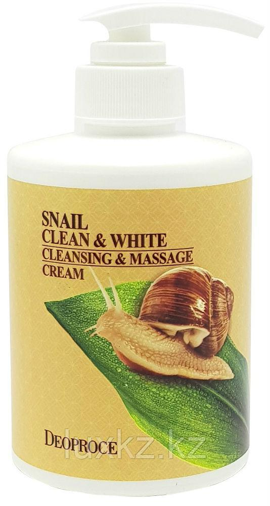 Очищающий массажный крем с экстрактом улитки Deoproce Snail Clean & White Cleansing & Massage Cream