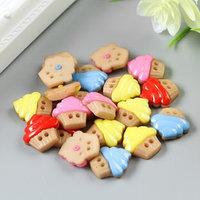 Набор пуговиц декоративных пластик 'Капкейки' (набор 20 шт) 1,6х1,7 см