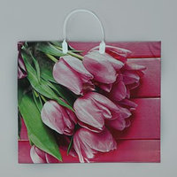 Пакет 'Букет тюльпанов', полиэтиленовый с пластиковой ручкой, 38 х 35 см, 100 мкм (комплект из 10 шт.)