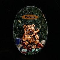 Магнит 'Медведь с балалайкой. Россия', 10х7 см, змеевик, гипс