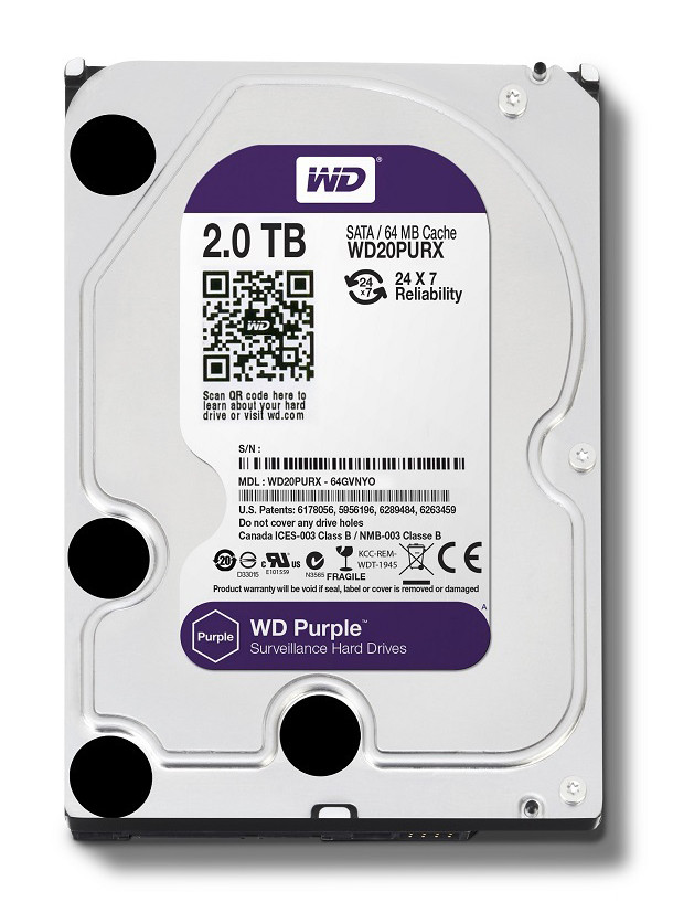 "Жесткий диск HDD 2000 Gb Western Digital (WD20PURZ), 3.5"", 64Mb, SATA III, Purple"