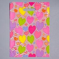 Пакет 'Красочные сердечки', полиэтиленовый с вырубной ручкой 30 х 40 см, 40 мкм (комплект из 50 шт.)