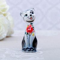 Сувенир 'Кошка Милашка', 8 см, серая гжель (комплект из 2 шт.)