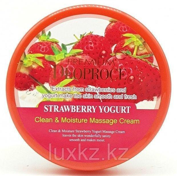 Массажный крем с экстрактом клубники Deoproce Premium Clean & Moisture Strawberry Yogurt Massage Cream