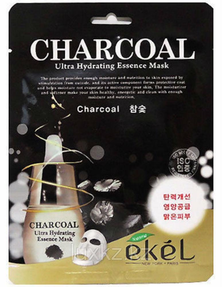 Тканевая маска с экстрактом угля Ekel Ultra Hydrating Essence Mask Charcoal