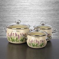 """Набор эмалированной посуды из 3-х кастрюль,(2,5 л,3,5 л, 5 л) i1600 """"Lavender/Лаванда"""" I1600лаванда"""