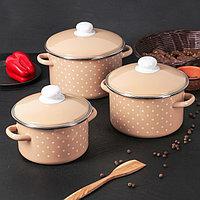 """Набор эмалированной посуды из 3-х кастрюль (2л, 3л, 4л), """"Горох"""" 2-3153/4"""