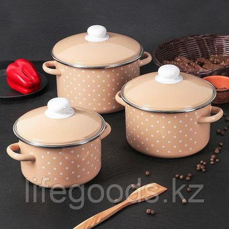 """Набор эмалированной посуды из 3-х кастрюль (2л, 3л, 4л), """"Горох"""" 2-3153/4, фото 2"""