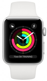AppleWatch Series3 GPS, 42mm Silver Aluminium Case with Sport Band (MTF22GK/A(LL/A)(806581) White