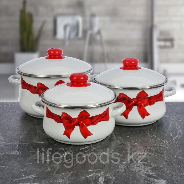 """Набор эмалированной посуды из 3-х кастрюль (2л, 3л, 4л), """"Бант"""" 7-316/4"""