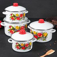 """Набор эмалированной посуды из 4-х кастрюль (2л, 3л, 4л, 5,5л), """"Весенний Букет"""" 2-404/4"""
