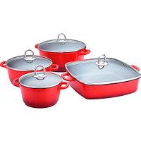 Набор кухонной посуды Lamart Cast Greblon [8 предметов] (Красный)