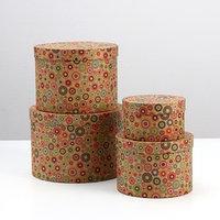 Набор круглых коробок 4 в 1 'Кружки крафт', 23 х 23 х 16 - 13,5 х 13,5 х 8 см