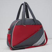 Сумка спортивная, отдел на молнии, наружный карман, длинный ремень, цвет серый/красный