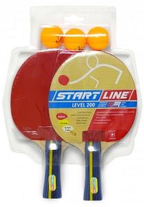 Набор START LINE: 2 Ракетки Level 200, 3 Мяча Club Select