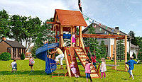 Детская площадка Савушка LUX-5, игровая башня, винтовая горка, шторм-трап, крестики-нолики, качели, кольца., фото 1