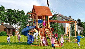 Детская площадка Савушка LUX-5, игровая башня, винтовая горка, шторм-трап, крестики-нолики, качели, кольца.