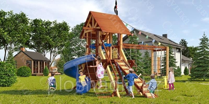 Детская площадка Савушка LUX-13, 2 качели, широкая альпинис.сетка, подъёмный трап с канатом, крестики-нолики.