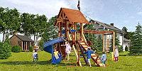 Детская площадка Савушка LUX-13, 2 качели, широкая альпинис.сетка, подъёмный трап с канатом, крестики-нолики., фото 1