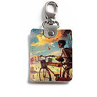 Брелок (Прямоугольный ) TRI1 «Мальчик и велосипед»