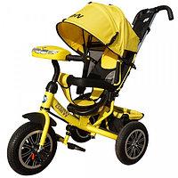 Детский трехколесный велосипед BMW с музыкальной панелью желтый