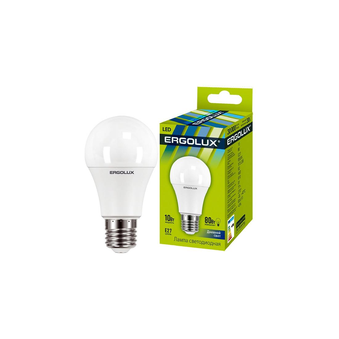Эл. лампа светодиодная Ergolux LED-A60-10W-E27-6K, Дневной