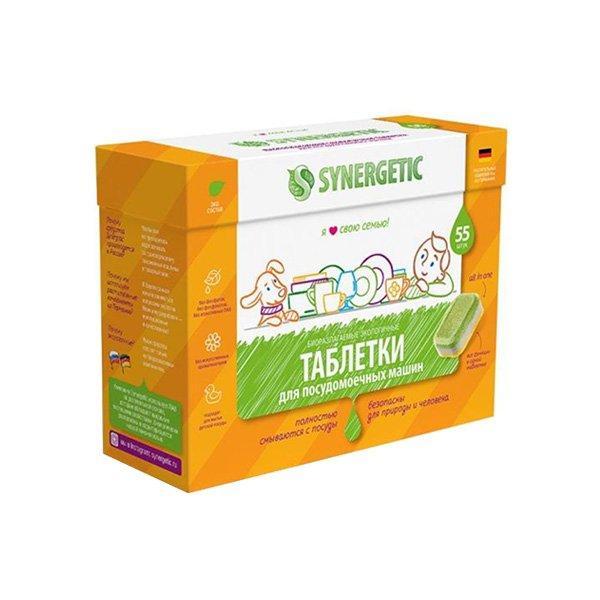 Бесфосфатные таблетки для посудомоечных машин SYNERGETIC 55шт, 55 шт