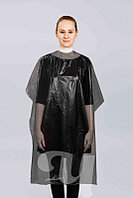 Пеньюар одноразовый для парикмахерских работ, 160х100 см, ЧЕРНЫЙ, полиэтилен, стандарт, уп. 50 шт.