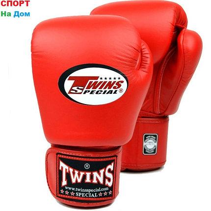 Перчатки для бокса и единоборств Twins 10-OZ кожа (цвет красный), фото 2