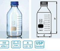 Бутыль для химреактивов с пластмассовой завинчивающейся крышкой d-45 мм, со шкалой (1000 мл) (Duran)