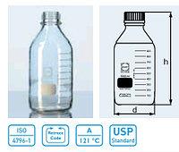 Бутыль для химреактивов с пластмассовой завинчивающейся крышкой d-45 мм, со шкалой (250 мл) с пластик. покрытием (Duran)