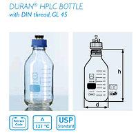 Бутыль для подвижной фазы HPLC 1000 мл с крышкой завинчивающающейся с 4-мя портами (Duran)