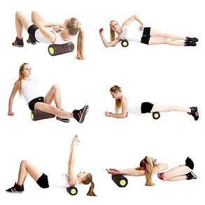Массажный валик (ролик) для фитнеса и йоги 62 см (цвет зеленый), фото 2