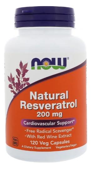 Now Foods, Натуральный ресвератрол, 200 мг, 120 растительных капсул