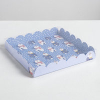 Коробка для кондитерских изделий с PVC крышкой 'Белые медведи', 21 х 21 х 3 см (комплект из 10 шт.)