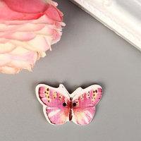 Пуговица декоративная дерево 'Бабочка розовая' 1,9х3 см (комплект из 30 шт.)
