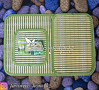 Набор подставок под горячее. Материал: Сорго/Нетканый материал. Цвет: Зеленый. Набор: 3шт.