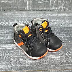 Ботинки весенние   (черно-оранжевые)