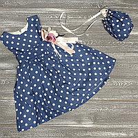 Платье синее в горошек