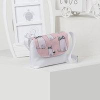 Сумка детская, отдел на клапане, длинный ремень, цвет белый/розовый