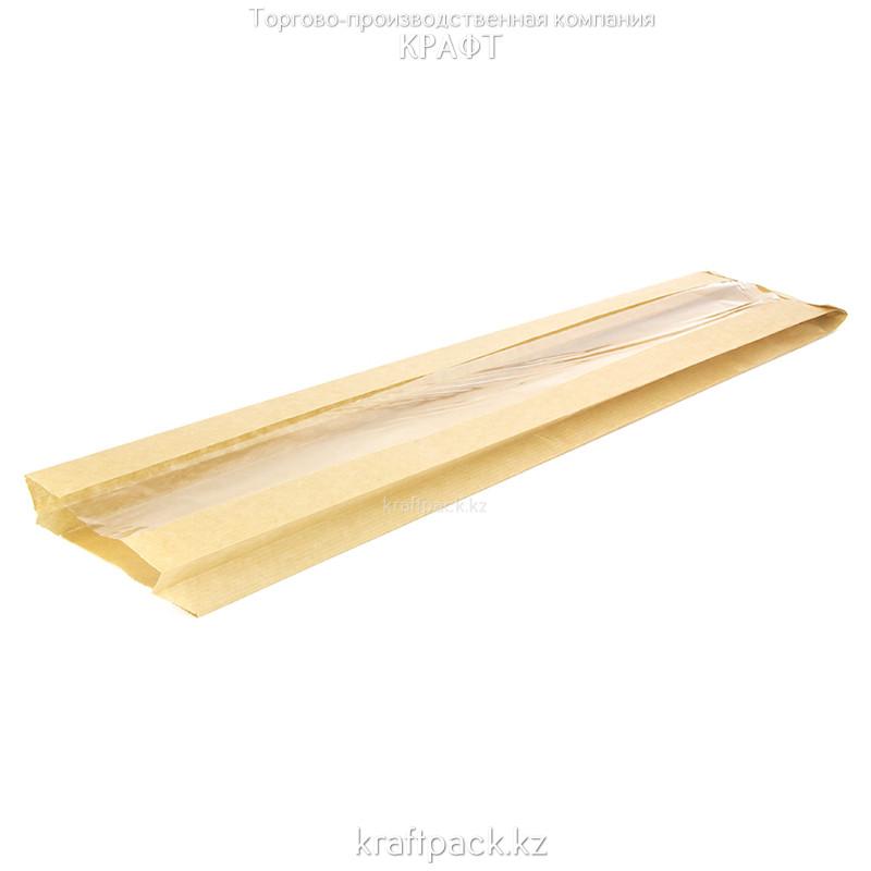 Пакет для багета крафт, с окном, с плоским дном 110(50)*40*585 (1000шт/уп) (V2-1032)