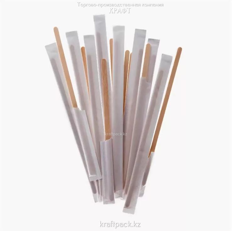 Деревянный размешиватель в индивидуальной упаковке 140мм (500шт/уп)